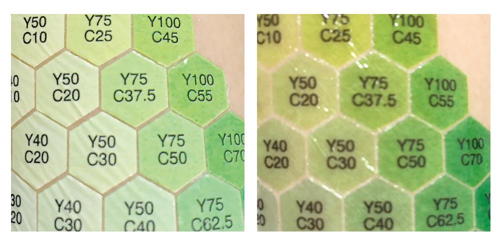 左:「白地タイプ」のプリントの様子 右:「透明タイプ」のプリントの様子